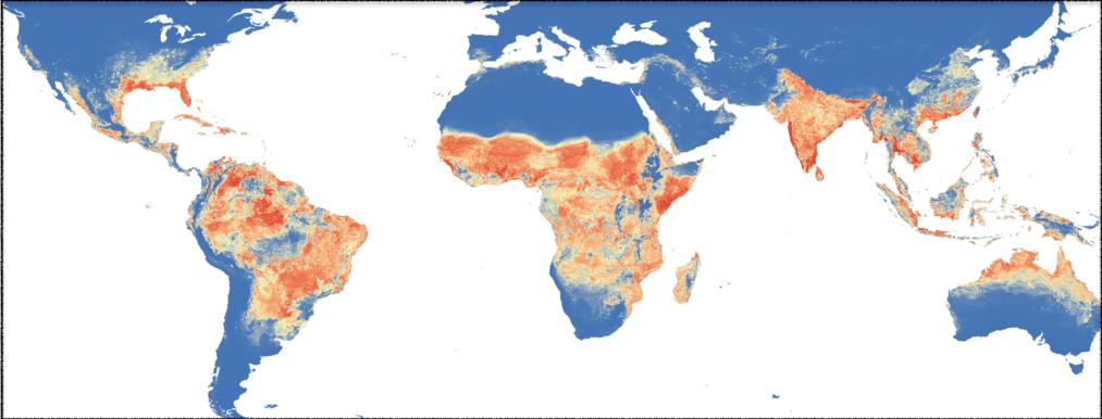 Carte de répartition du moustique de la fièvre jaune, Aedes aegypti.